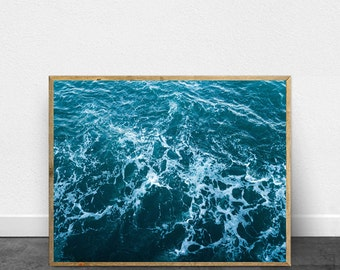 Waves Beach Art Print Ocean Blue Turquoise Water Contemporary Art Large Printable Poster Digital Download Beach Wall Decor Modern Minimalist
