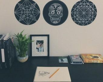 Vinyl Record Art Sugar Skull & Geometric, Set of 3 Wall Art