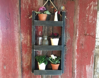 Decorative ladder shelf plant stand | Indoor outdoor hanging wall planter | Rustic vertical herb garden | Wooden ladder plant shelf