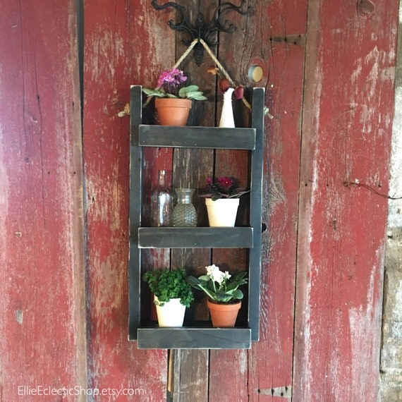 Decorative Ladder Shelf Plant Stand Indoor Hanging Wall