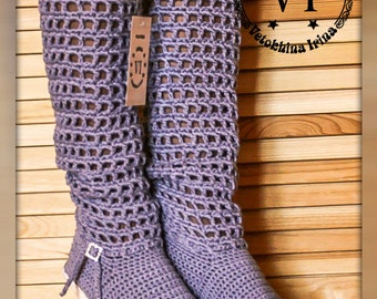 Summer crochet boots/ Boots Handmade/ Crocheted Outdoor Summer Wedge Boots/Made to Order/ Women Fashion Boots/ Boots grey/ Boots Women