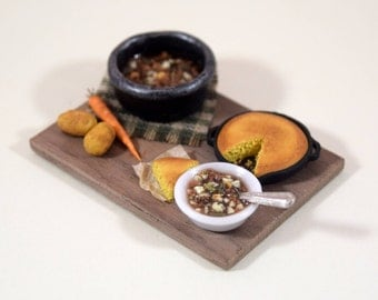 Vegetable Soup and Cornbread, Miniature Dollhouse Food, 1:12 Scale, Miniature Prep Board, Miniature Vegetables Veggies