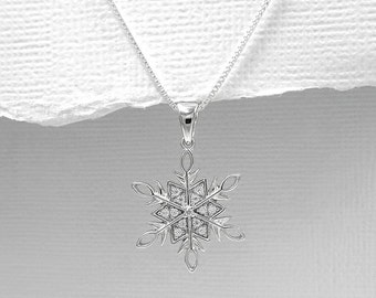 Sterling Silver Snowflake Necklace, Christmas Necklace, Winter Necklace, Winter Wedding Necklace, Bridesmaid Necklace, Gift for Mom