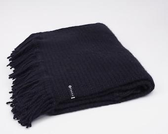 FIVE PANEL BLANKET | Alpaca & Merino Wool | Handcrafted Knit | Chalk White or Black