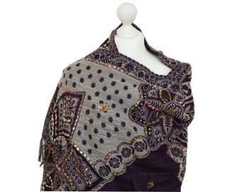 Purple Wool Blanket Shawl Wrap, Wool Shawl, Spring Summer Shawl, Winter Shawl, Ladies Shawl, Oversized Shawl, Gifts For Her, Shawls, Wraps
