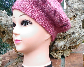 Mohair beret with pom poms