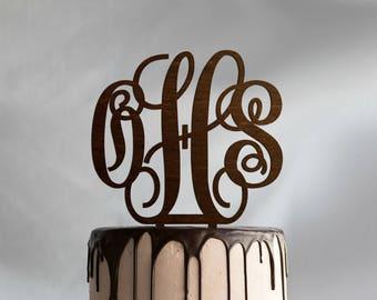 Monogram Cake Topper Wedding Cake Topper Rustic Initials Cake Topper Gold Letter Cake Topper Anniversary Cake Topper Custom Cake Decoration