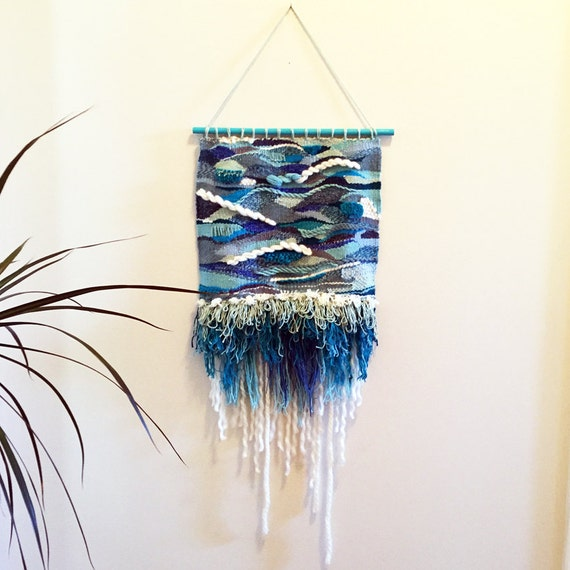 Flowing Water Handwoven Textured Wall Hanging Blue, Sea foam, Aqua, Navy Made of Silk, Wool, Cotton Ombre Fringe Fiber Art Hand Woven