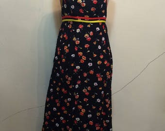 Vintage 1970s Maxi Halter Dress Floral California poppy Poppies Pop art psychedelic Print Black cotton summer 1970s cotton day dress