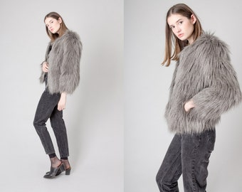 FAUX FUR coat Guess jacket Women cropped Fall Winter vintage women Small / Xs better Stay together