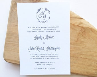 Monogram Wreath Wedding Invitation, Leaf Wreath Wedding Invitation, Botanical Wreath Wedding Invitation, Thermography Wedding Invitation