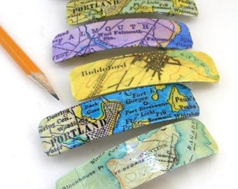 "Small Maine Barrette 3"" Vintage Map Graphics"