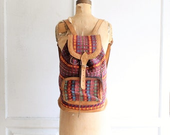 vintage textile leather boho backpack