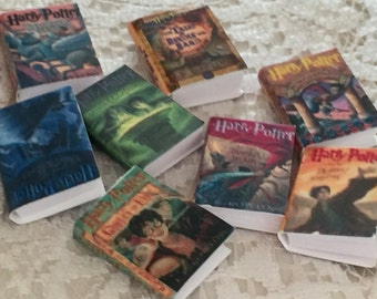 "Miniature Books,""Harry Potter"", Dollhouse Miniature, 1:12 Scale, Mini Harry Potter Book Set, 8 Books, Author JK Rowling, Mini Book Set"