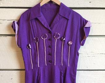 Vintage 1940s linen dress • 40s dress • vintage bowling dress