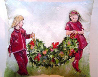 Children and the Christmas Garland - Pillow 14x15 Hand Painted Original Art - Clad in Burgundy Dress Charming Holiday Decor & Gift