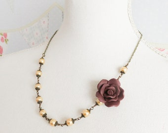 Aubergine Flower Necklace, Beaded Necklaces, Burgundy Jewelry, Gold Pearl Jewelry, Romantic Jewelry, Gift For Her, Rose Necklace