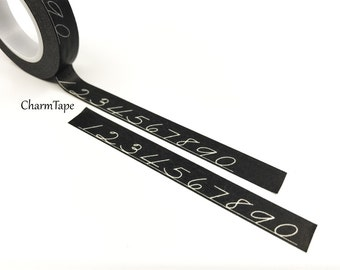 Chalk numbers on Black Washi Tape 10mm x 10meters WT306