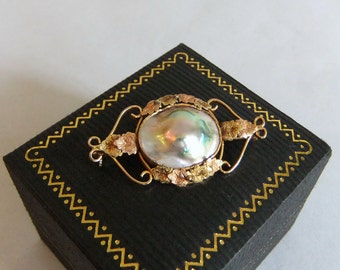 Vintage Antique Mabe or Blister Pearl, 10k Pink Rose and Yellow Gold Brooch - Aesthetic, Late Victorian, Scrolls & Leaves