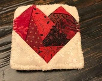 Vintage Patchwork Heart Brooch