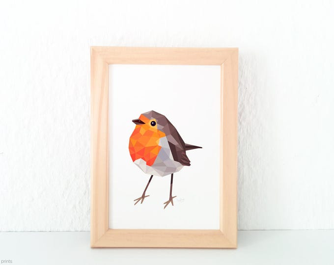 Robin redbreast print, Geometric robin art, Red robin illustration, Woodland creatures nursery, Garden birds, Common garden birds art print