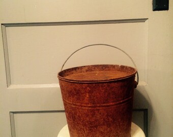Vintage Rusty Primitive Bucket Old Paint Bucket Man Cave Decor