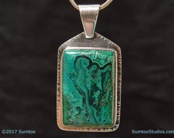 Gem Chrysocolla/Malachite in Argentium Sterling Silver Pendant
