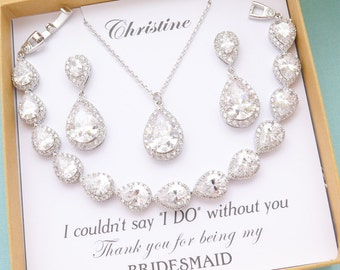Personalized Bridesmaid Gift, Bridesmaid Jewelry Sets, Bridesmaid Cubic Zirconia Earrings and Necklace Bracelet Set, Mother of Bride Gift