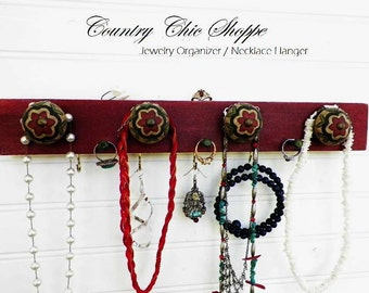Jewelry Organizer in Native Summer Red with Decorative Knobs in Beautiful Southwestern Colors.