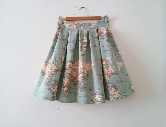 World Map Skirt Map Printed High Waisted Skirt in Blue Green