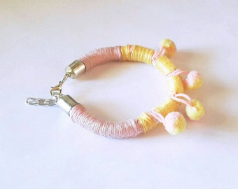 POM POM BRACELET / Multicolored Wrapped Cotton Thread Bracelets with Pom Poms / Available in Three Combination of Colors / Pom Poms Trend