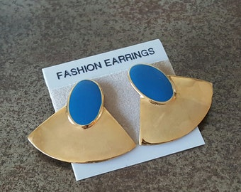 Vintage Glam Enamel Blue & Gold Stud Earrings 1980s/90s New Old Stock NOS Deadstock 80s Glam Mod Retro Pierced Posts Dangly