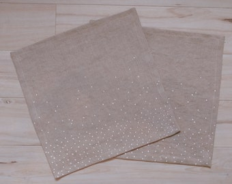 "Hand painted snowy print napkins - linen napkin - white print - natural linen - 12"" x 12"""