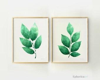 Green leaves wall art set, 11x14 Instant Art, PRINTABLE Kitchen wall decor, Living room wall prints Green wall decor Modern Botanical Prints