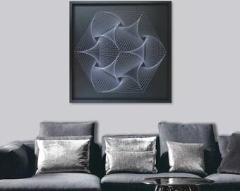 Large Zen Wall Art in Black & White - Custom UV String Art Mandala - Sacred Geometry for Home, Office, Spa, Yoga, Bars, Clubs, Restaurants