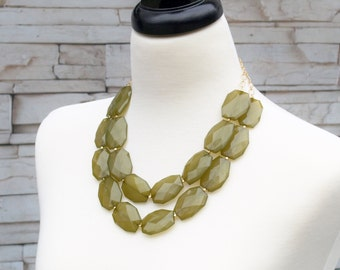 Sale!! Statement Necklace - Olive Green Bib Necklace - Multi Strand Two Chain Layering Beaded Necklace - Chunky Beads - Olive green jewelry