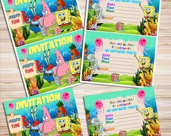 SpongeBob Invitation, SpongeBob Invite, SpongeBob Party, SpongeBob Birthday, Sponge Bob Party, SpongeBob Printable, Sponge Bob Birthday