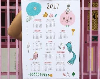 2017 Wall Calendar - Flower Cat Birds Woodland Illustration - Cute Animals Wall Art - Gift for Kids - Home Decor