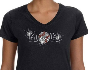 Rhinestone Tee Baseball Mom Premium LAT Ringspun Cotton Short Sleeve V Neck