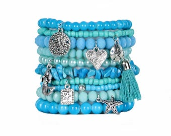 Beaded Bracelets Set of 10 Stretch Bracelets Bohemian Mermaid Themed Stack with Silver Tone Charms and Tassel