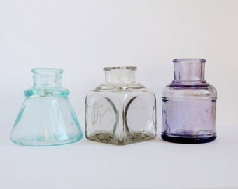 Vintage Aqua Purple Gray Ink Bottles Collection, Antique Embossed Glass Ink Bottles Photo Prop Display
