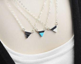 Silver Pendant Necklace - Gemstone Necklace - Dainty Jewelry - Triangle Necklace - Minimalist Jewelry - Chevron Necklace - Layered Necklace