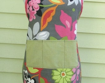 Grey Floral Apron - Womens Apron - Full Apron - Chefs Apron - Long Apron - Grey Apron - Handmade - One of a Kind - Apron - Aprons for Women