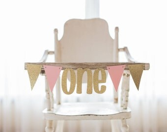 High Chair Banner-Pink and Gold First Birthday Banner-Birthday Photo Prop-First Birthday Party Banner-Pink and Gold Party-Small ONE Banner