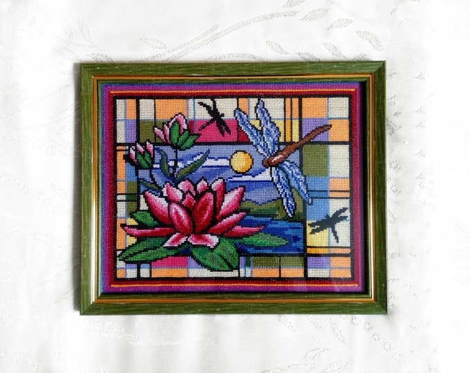 DMC thread embroidered picture with lotus and dragonfly in a frame - Cross stitch art - hand embroidery - landscape picture - ready to ship
