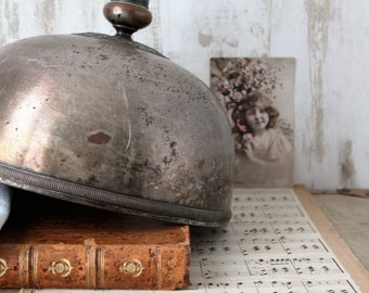 Large Bell silver metal - old dish Bell / Deco industrial / wedding Decoration / Bell metal.