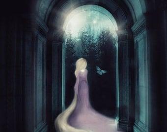 Rapunzel Art, Mixed Media Art, Fairytale Art, Rapunzel Print, Rapunzel Gift, Dark Art, Wall Art, Whimsical, Dreamy Prints, Fairytale Gifts