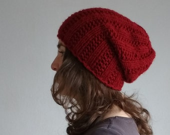 Winter Hat Marsala Red Knit Hat Red Beanie Hat Slouchy Beanie Chunky Knit Womens Hat Knit Wool Hat Winter Teen Gift Girl