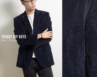 Men's 70s jacket, Men's Blazer, Vintage Blue Blazer, Navy Blue Blazer, 70s Corduroy blazer,Men's vintage jacket,Hipster jacket - M