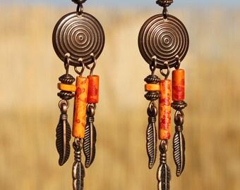 Orange boho earrings Copper Earrings Dangle Earrings Bohemian Gypsy Hippie Ethnic Chandelier Earrings Boho Jewelry Gift For Her Gift Ideas